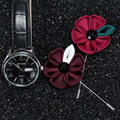 High quality fabric flower brooches men free sample metal large brooches