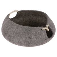 wholesale premium grey portable heated luxury pet wool felt padded cat bed house with rope catnip
