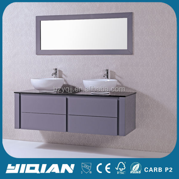 Wall Mounted Double Sink Modern European Design Bathroom Cabinets