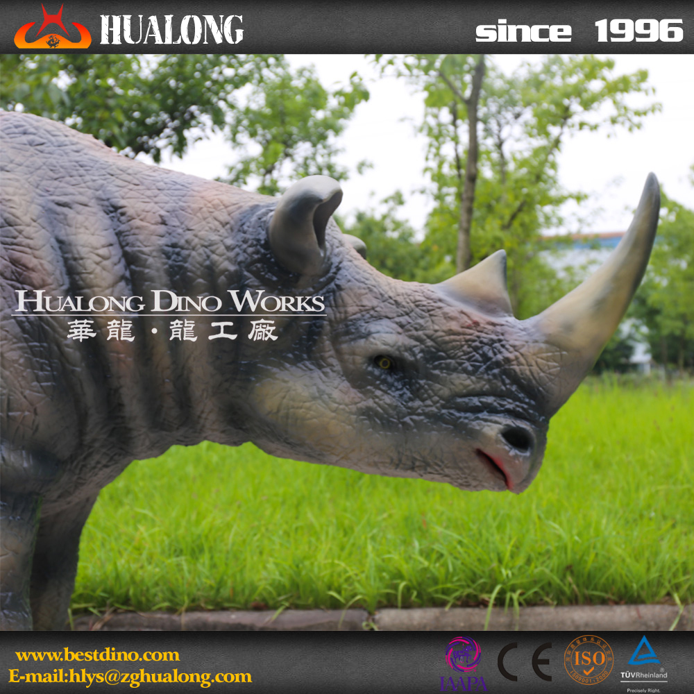 Wildlife Decoration Fiberglass Lifelike Rhino Model