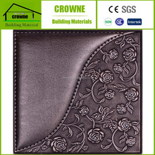 China Building Supply 3D Soft PU Leather Wall Decorative Leather Wall Panels