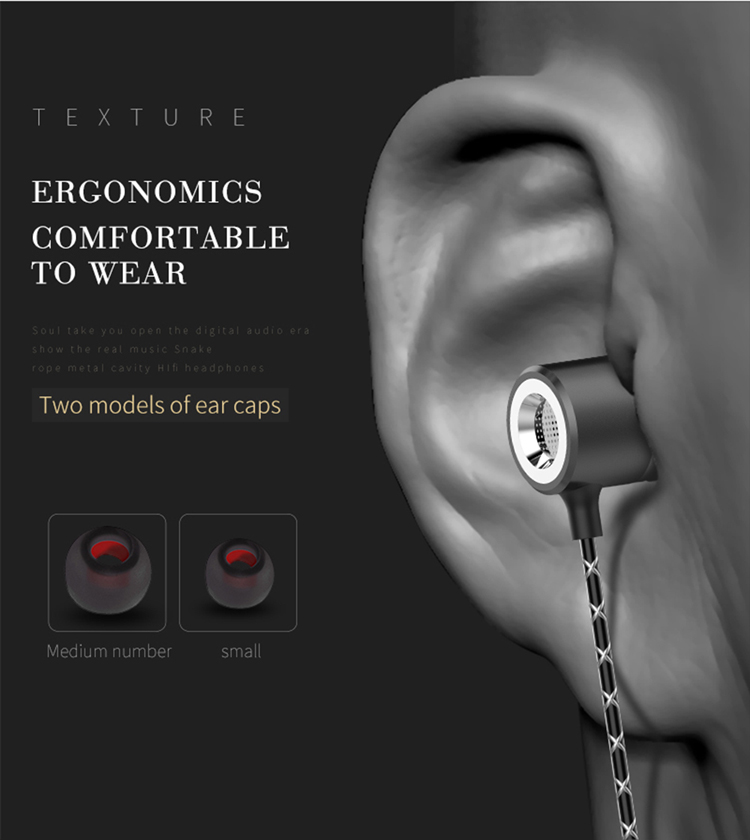 Original Headphones 3.5MM Metal In-ear Wired Earphones HiFi Stereo Bass With Microphone For Mobile Phone Computer Headset