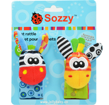 sozzy wrist rattle with paper card package, baby infant soft wrist rattle, sozzy developmental sozzy