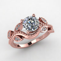 rose gold leaf engagement ring new arrived hot sale hand made wedding leaf ring