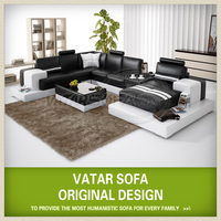 Modern black and white italian site with free side table H2205