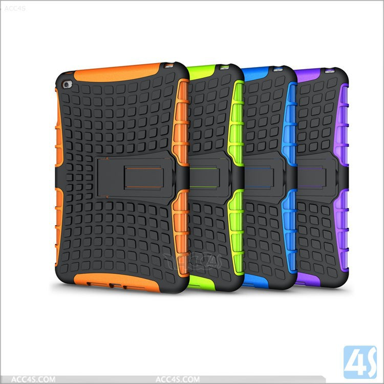2015 New design Kickstand hard case for ipad mini 4 PC Silicone material
