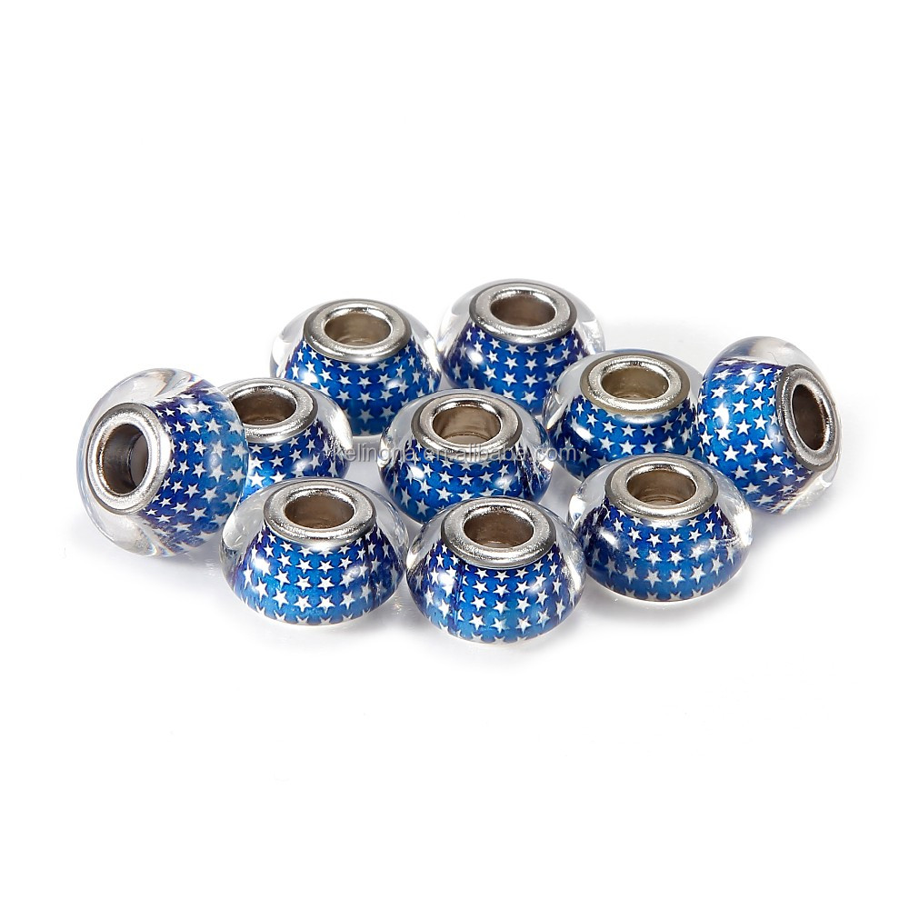 Hot Selling Epoxy Enamel 10 pcs Sapphire Star Color Glass Beads Loose Beads