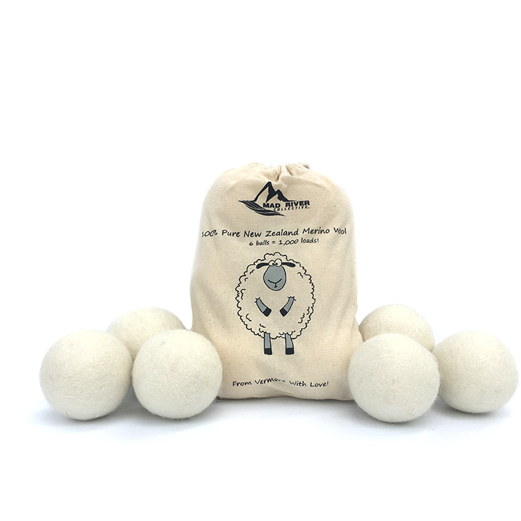 Customized Cotton Bag 100% New Zealand Wool Dryer Balls for Natural Laundry Fabric Softener (Pack of 6) Reusable