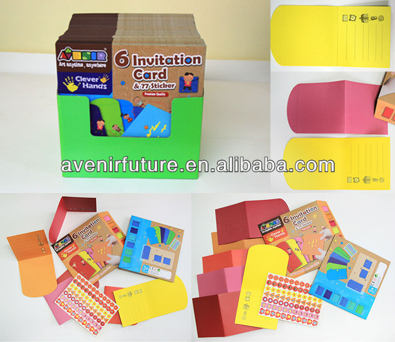 6 Invitation Card and 77 Sticker (Multi-Purpose) - Art and Craft Work for Children