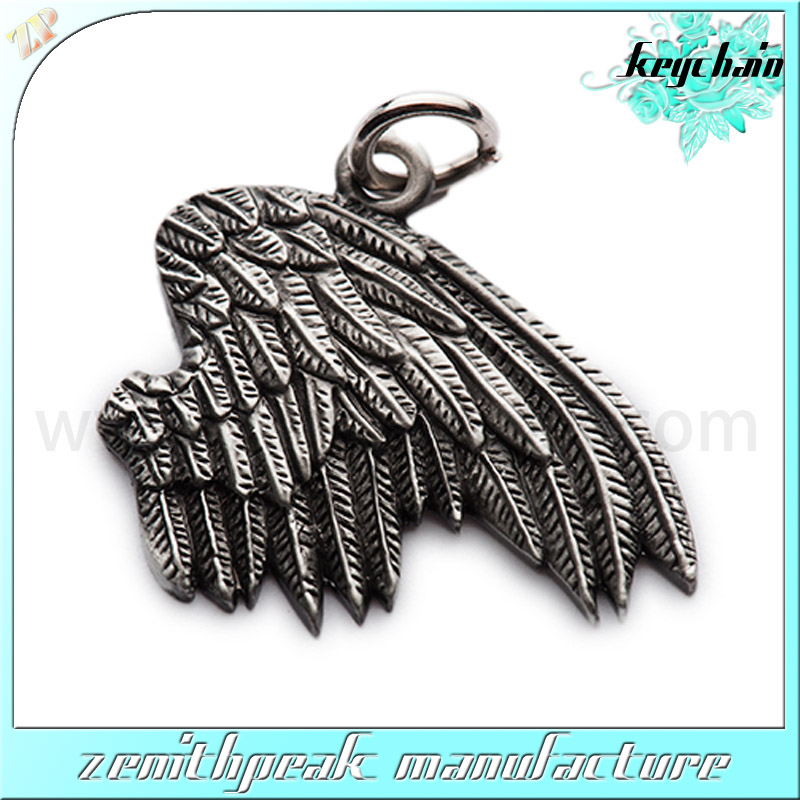 2016 custom design metal antique wing keychain/wing keyring/wing key holder