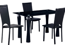 Modern balck painted tempered glass dining table