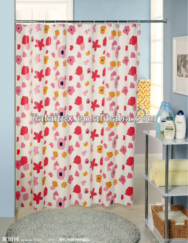 blue flower printed shower curtain