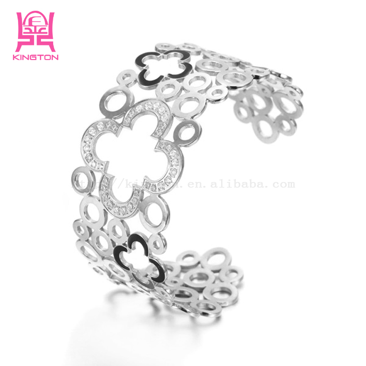 2017 top selling products in alibaba hollow flower stainless steel crystal women gold bangle jewelry