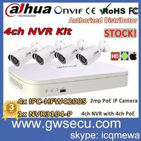 stock for dahua poe onvif diy 4ch nvr kit full hd 1080p nvr3104-p with mini outdoor poe ip camera ipc-hfw4200s cctv dvr kit