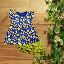 cotton and summer baby star clothes wholesale ruffle children's girl dress outfits infant boutique clothing