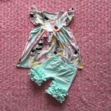 2016 new style summer costumes feather pearl dress with light aqua icing shorts baby outfits