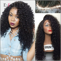 Hot Style Virgin Brazilian Human Hair Kinky Curl Wig Small Cap Size Lace Front Wig