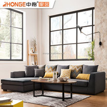Modern Furniture Sofa Home Living Room Corner Fabric Design L Shaped Sofa Set