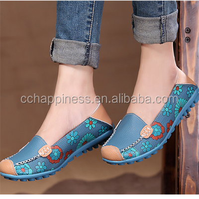 Women Slip-on Flats Floral Print Maternity Loafter Casual Shoes