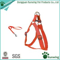 Pet Chain Reflective Nylon Dog Harness Adjustable with Matching Leash Orange
