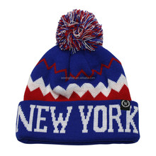 Cold Weather Hat Fashion New York Acrylic Striped Knitted Pom Pom Hat with Cuff