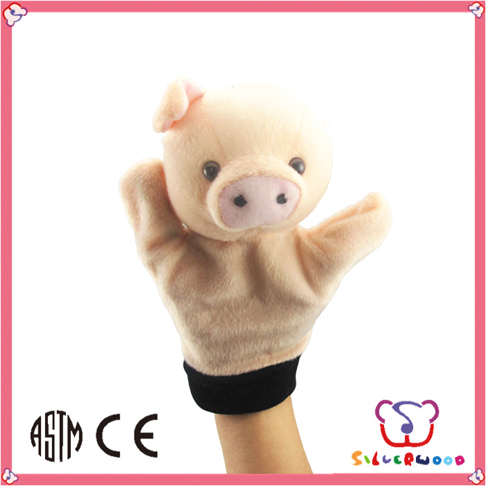 ICTI Factory new design cute animal plush pig hand puppet toy