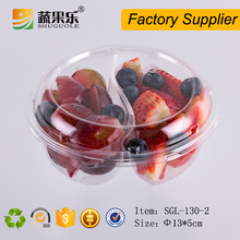 Disposable transparent clamshell plastic salad packaging container