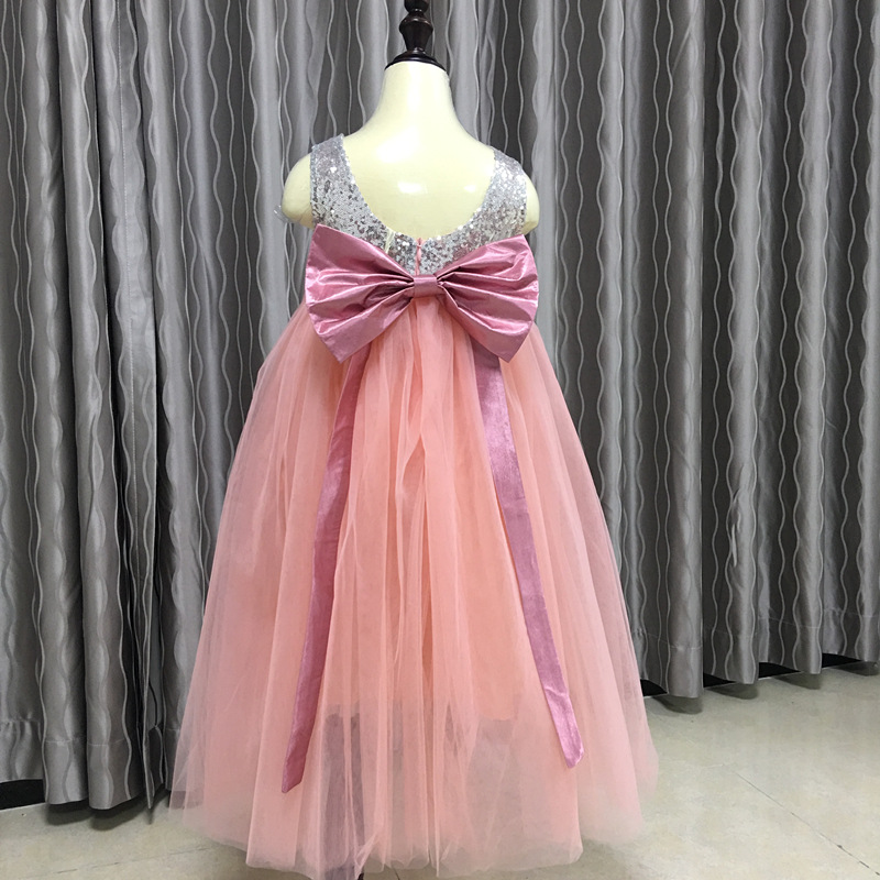 High-end Boutique Kids Girl Sequin Backless Long Pattern Children Frocks Designs Dress Girl Princess Bowknot Formal Party Dress