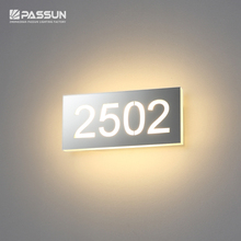Stainless steel indoor number sign LED wall light for hotel doors
