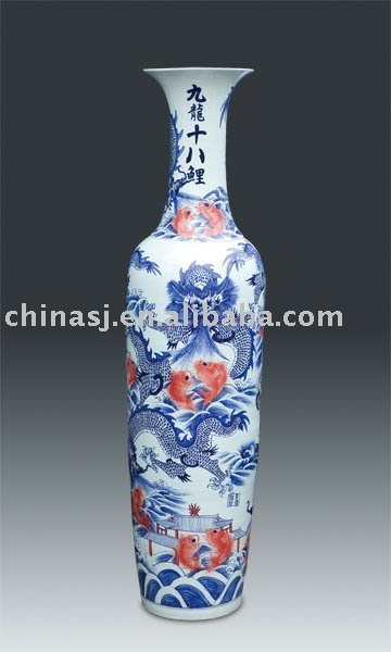antique large tall chinese dragons porcelain vase WRYJR08