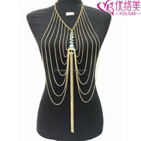 Fashion Indian Body Chain Long Body Chain Jewelry Making Supplier For Women YMBD3-125