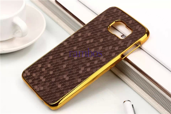 Retro Back Cover PU Leather + Chromed Gold Edge Plastic Case for Samsung Galaxy Note 3 Note 4 S5 Alpha