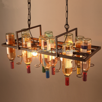 Latest design lighting bar wine bottle light cast fixture hanging pendant light from china factory