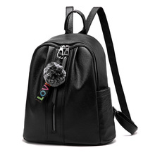 Fashion Black Pu Leather Backpack For <strong>School</strong>