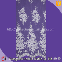 HC-3338 Hechun 3D Floral Border Polish Bridal Lace Fabric for sale