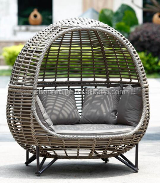 China manufacturer popular Egg shaped Round sun lounger outdoor KD furniture