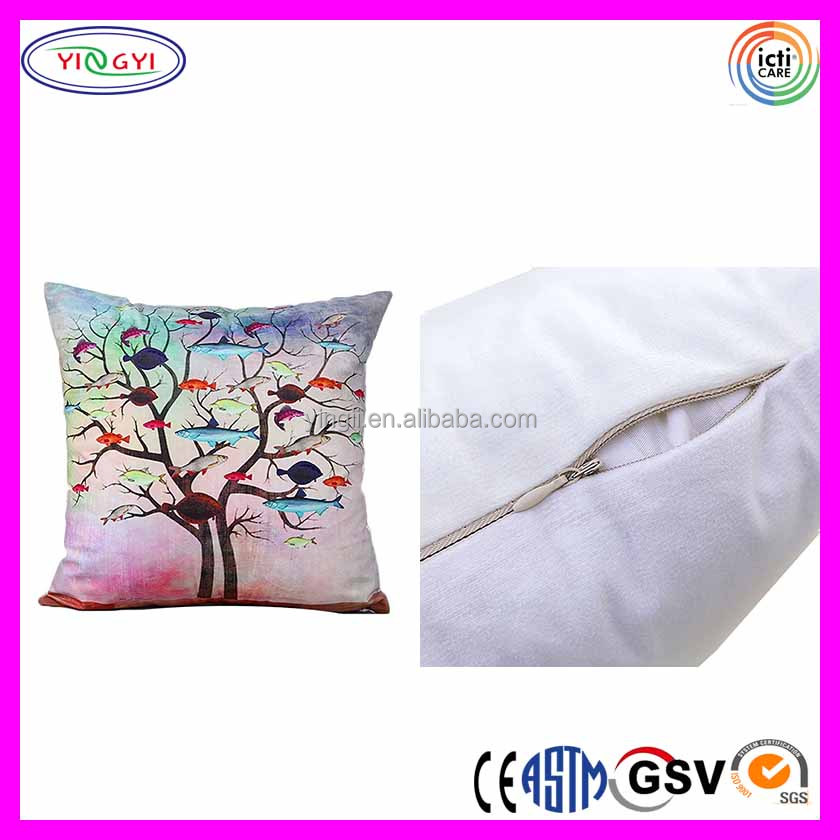 E379 Soft White Flannel Fabrics Square Decorative Fashion Throw Cushion Digital Printing Pillow