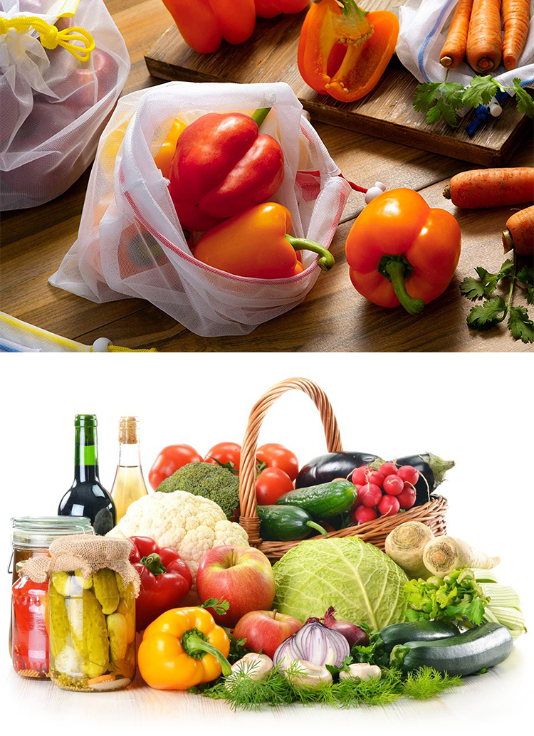 Eco Friendly Grocery Shopping Fruits Veggies Snack Vegetable Premium Reusable Polyester Mesh Produce Bags With Tare Weight Tags