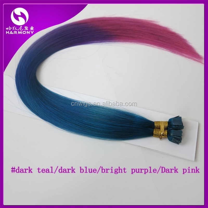 ( dark teal/dark blue/bright purple/Dark pink, 1.0gram/piece ) 500 pieces 20inch colorful fusion flat tip bond hair extensions