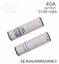 18650 battery 40A 3.7v 3100mah e cig vapor mod rechargeable 18650 3100mah 40A li-ion battery pandora box mod