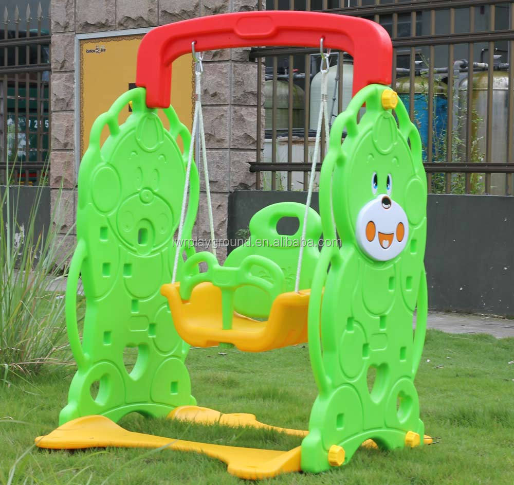 Kids Colorful Indoor Plastic Slides And Swing Set