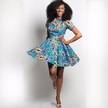 new arrive women african wear fashion print dress short sleeve for summer