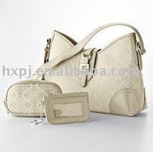 Beige lady bag and cosmetic bag set