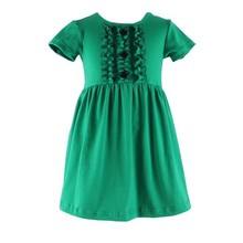 2017 Latest design factory price 1-6 Years Old Baby Girl Fashion Green New Dress