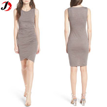 2017 New Look Ladies Sexy Ruched Bodycon Tank Dress Factory Price