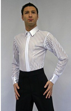 Men's Dancewear--Men's White Sheer Latin Shirt SAVE 20%