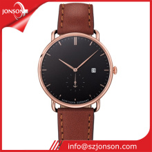 Fashion design stainless steel quartz watch genuine leather watch for Men