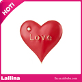 Gold Plated Alloy Metal Brooches Love Word on Heart-shape Surface Brooch Pin Gift with Red Enamel