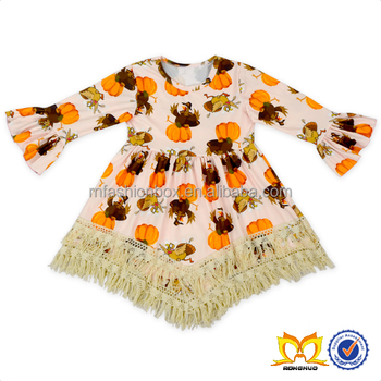 Kids Turkey And Pumpkin Tassle Dress Baby Girls Dress Designs Thanksgiving Clothing