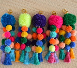 Neon pink pom poms bag charms Purse Tassel key chain Boho accessories Handbag charm Tassel clip